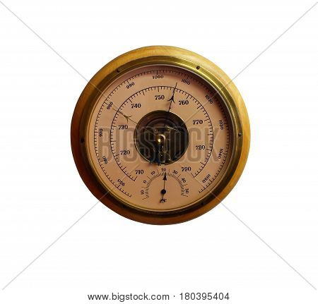 Old round barometer meter isolated over white background, an instrument measuring