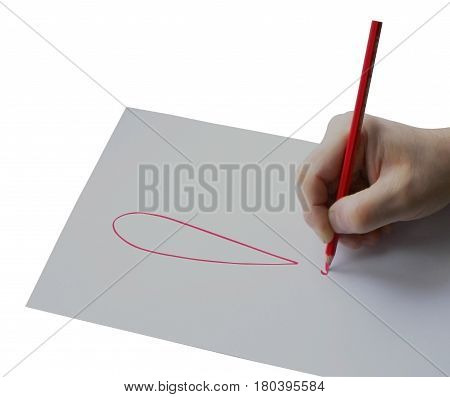 Man hold pencil on right hand, isolation on white background , paper