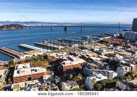 San Francisco Downtown California with the Embarcadero and Bay Bridge