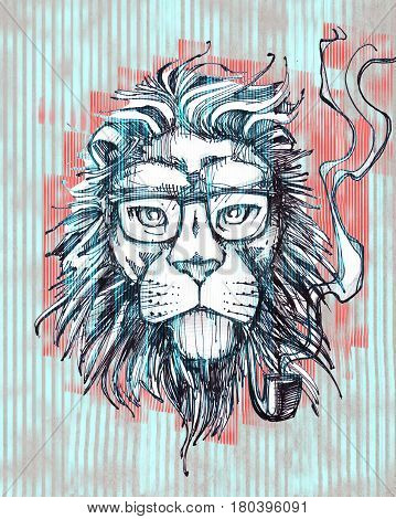 Hand drawn illustration or drawing of a hipster lion with glasses and pipe