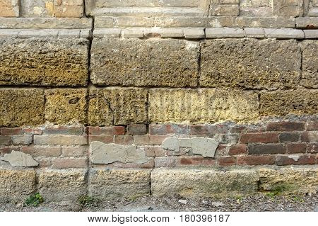 High resolution texture of part of obsolete stone brick wall