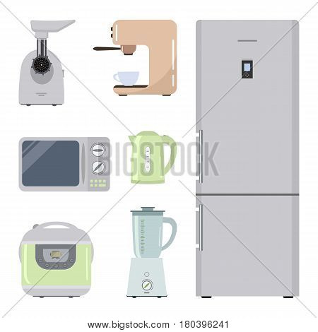 Set of kitchen equipment on a white background. There is a refrigerator, meat grinder, crock pot, kettle, microwave, blender and coffee machine in the picture. Raster copy.