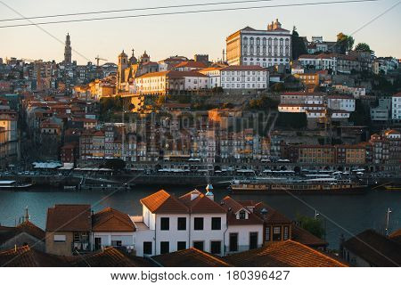 View Douro river and Ribeira at old downtown of Porto, Portugal.