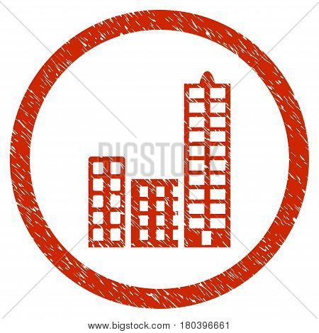 City grainy textured icon inside circle for overlay watermark stamps. Flat symbol with dirty texture. Circled vector red rubber seal stamp with grunge design.