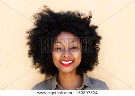 Beautiful Young Black Woman Standing And Smiling