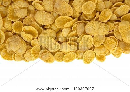 corn flakes top view on white background