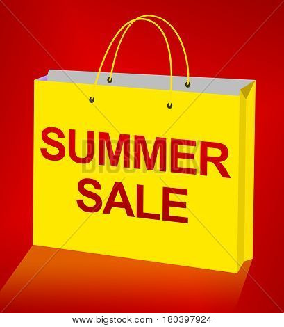 Summer Sale Displays Bargain Offers 3D Illustration
