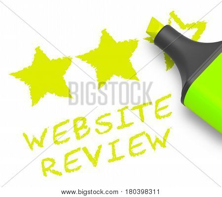 Website Review Means Site Performance 3D Illustration