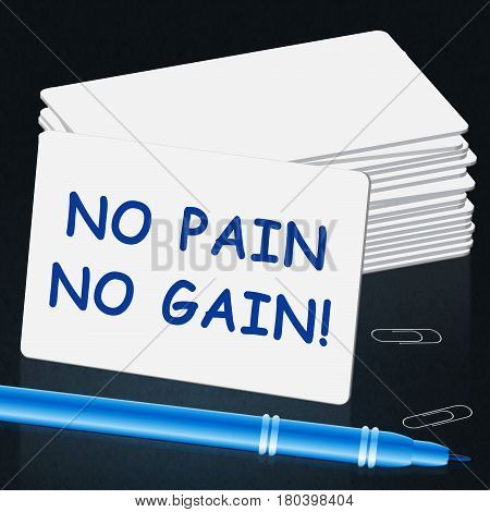 No Pain Gain Representing Success 3D Illustration