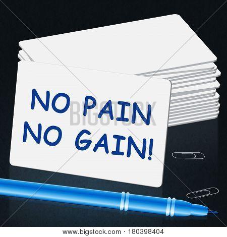 No Pain Gain Representing Success 3D Illustration