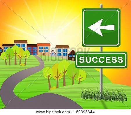 Success Sign Represents Triumphant Victory 3D Illustration