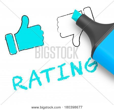 Thumbs Up Rating Displays Performance Report 3D Illustration