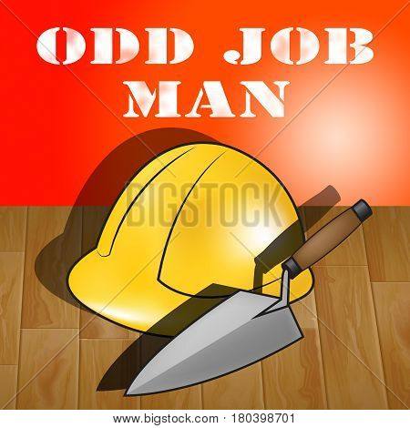 Odd Job Man Represents House Repair 3D Illustration