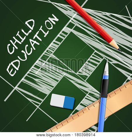 Child Education Showing Kids School 3D Illustration