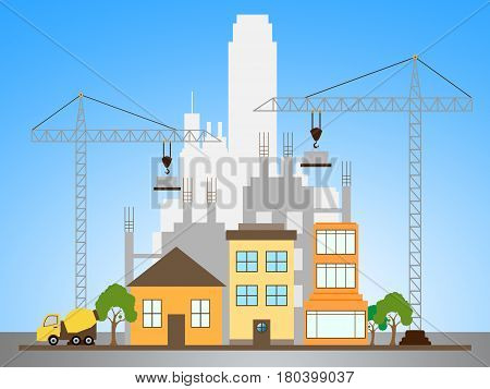 Apartment Construction Describes Building Condos 3D Illustration