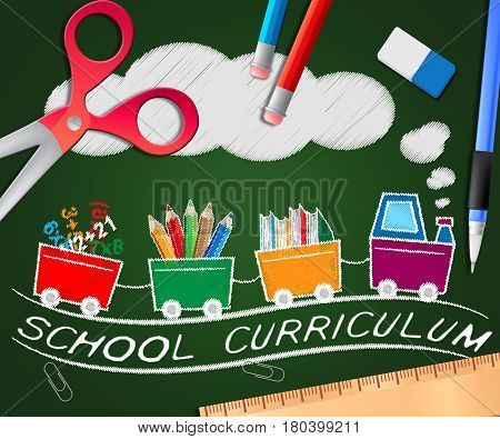 School Curriculum Showing Education Courses 3D Illustration