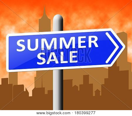 Summer Sale Showing Bargain Offers 3D Illustration