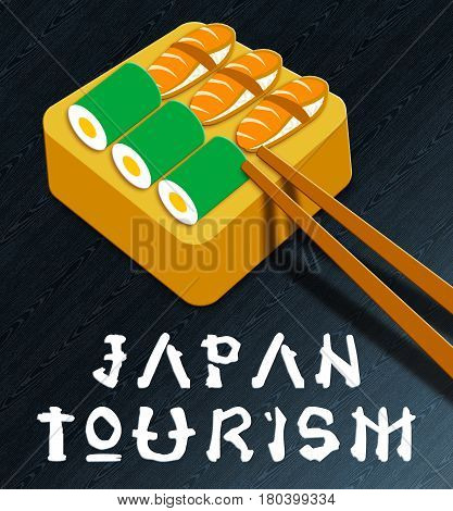 Japan Tourism Showing Japan Cuisine 3D Illustration