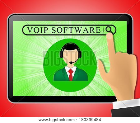 Voip Software Tablet Represents Internet Voice 3D Illustration