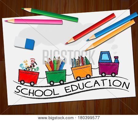 School Education Means Kids Education 3D Illustration
