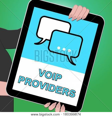 Voip Providers Tablet Shows Internet Voice 3D Illustration