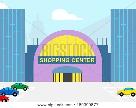 Shopping Center Shows Retail Commerce 3D Illustration