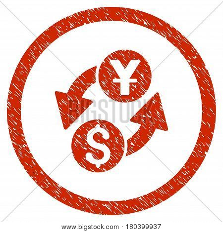 Dollar Yuan Exchange grainy textured icon inside circle for overlay watermark stamps. Flat symbol with scratched texture. Circled vector red rubber seal stamp with grunge design.
