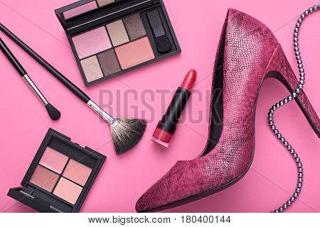 Fashion Design Woman Accessories Set. Pastel Colors. Cosmetic Makeup. Trendy fashion Eyeshadow Brush Lipstick. Glamor fashion shoes Heels.