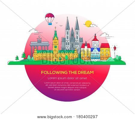 Following the dream - modern vector line travel illustration. Discover Netherlands and Germany. Have a trip, enjoy your vacation. Be on a safe and exciting journey. See great landmarks like cathedrals, palaces and museums