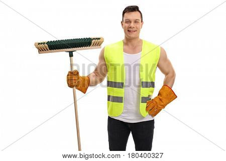 Waste collector holding a broom and looking at the camera isolated on white background