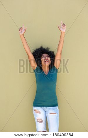 Successful Beautiful Woman With Outstretched Arms Smiling
