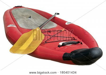 whitewater inflatable stand up paddleboard with a kayak paddle isolated on white with a clipping path