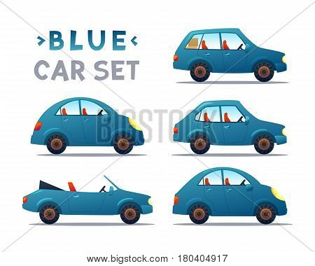 BLUE Car collection icon, vector illustration