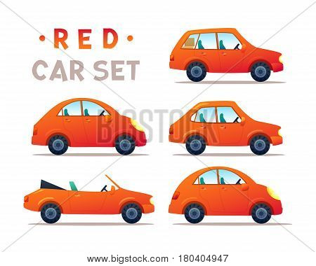 RED Car collection icon, vector illustration
