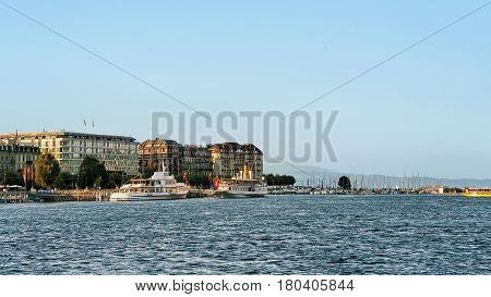 Geneva, Switzerland - August 30, 2016: Ships in Geneva Lake near Quai du Mont-Blanc in summer Geneva Switzerland.