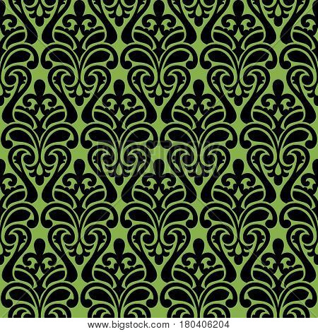 Black damascus ornament, seamless pattern on greenery background, vector. Trend color spring 2017