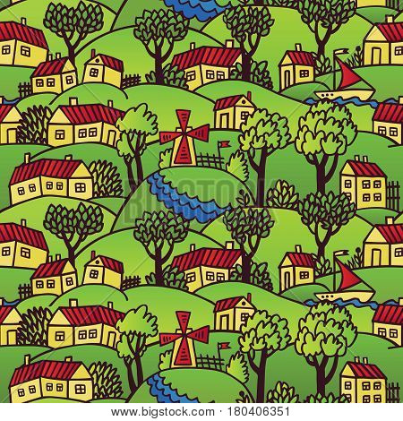 Cute hand drawn illustration of cozy settlement with tiny houses green trees river and windmill. Countryside landscape. Perfect background for decoration of local festival