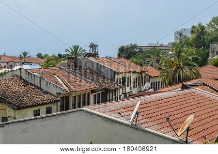 The roofs of the old houses of the city from the red tiles found in the tour of Antalya