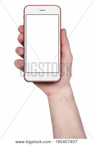 Man holding red smartphones, blank screen and isolated on white background. 3d illustration.