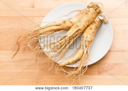 Fresh Ginseng on plate