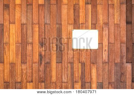 Wooden background and white board signage., Background texture.