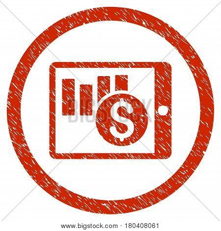 Sales Chart On PDA grainy textured icon inside circle for overlay watermark stamps. Flat symbol with scratched texture. Circled vector red rubber seal stamp with grunge design.