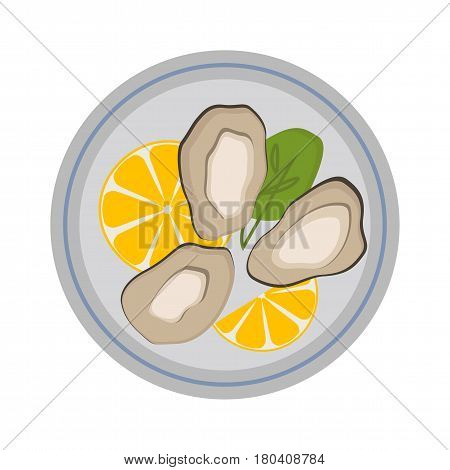Fresh mussel gastronomy ingredient on plate shellfish oyster and nutrition nature food dinner cooked gourmet healthy cuisine seafood vector illustration. Raw or prepared diet marine ingredient.