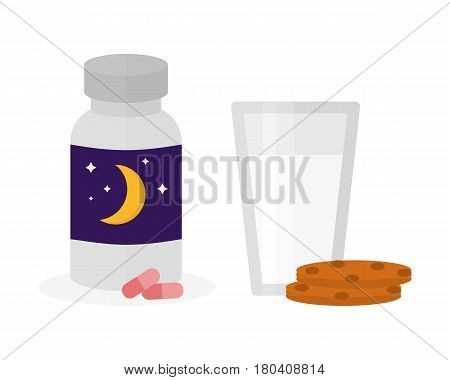 Sleep time icon flat isolated vector illustration. Sleep icon sweat dream. Night rest human sleep icon. A bottle of sleeping pills. Cookies and glass with milk