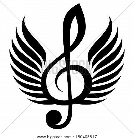 Black treble clef with wings. Vector illustration