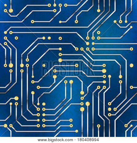 Complicated computer microchip, seamless pattern on blue background