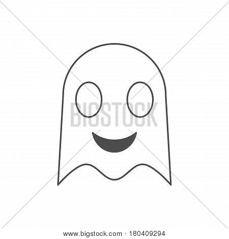 Happy ghost icon in thin line design. Illustration isolated on white background.