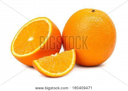 Orange And Orange Slices On A White Background