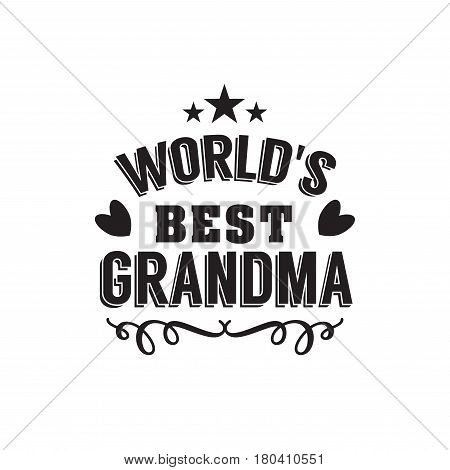 worlds best grandma handwritten in black brush ink lettering text, typographic design badges in calligraphy style, vector illustration on white background