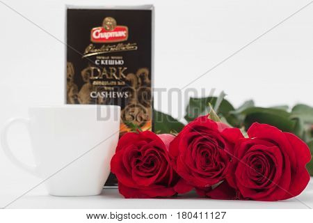 Gomel, Belarus - 7 April 2017: Red Roses Coffee Cup And Chocolate Factory Spartak